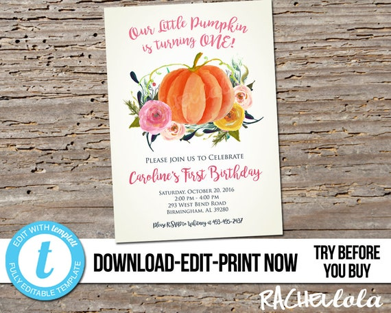 Editable 1st birthday party invitation our little pumpkin is il570xn filmwisefo