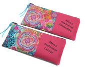 RESERVED: gift centerpiece fine year, 2 pencil cases in colorful fabric custom thank you gift