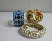 Retro Vintage Clamper Bracelets - Lot of 3 Vintage Bracelets - Magnet Bracelet Art Modern