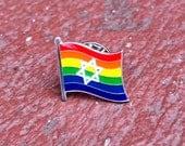 "LGBTQ Pride Star of David Jewish + Israel (""A Chicago Marching Dykes"") Rainbow Pin for Lapels, Shirts, Backpacks, Hats, etc..."