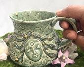 20# LargeCeramic Stoneware Coffee Cup - Garden Goddess Design