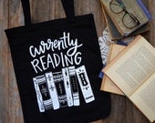 Currently Reading, canvas tote bag, book stack, book illustration, library bag, book club, bookish, I like big books, reusable shopping bag