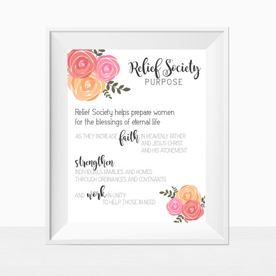Printable, LDS, Relief Society, Relief Society Purpose, Statement ...