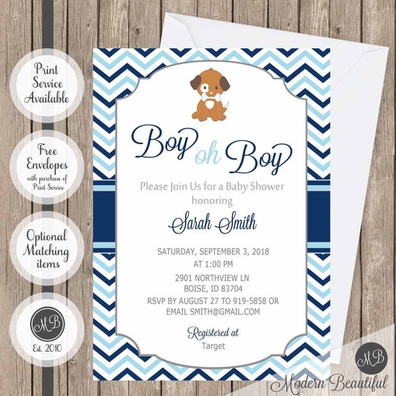 Boy oh boy puppy baby shower invitation light blue and navy il570xn filmwisefo