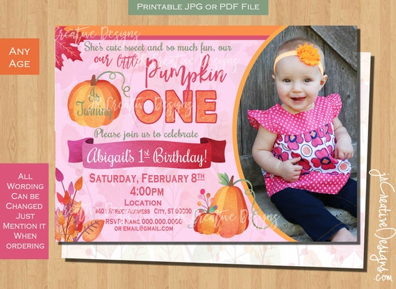Girl Pumpkin Invitation 1st Birthday Printable Party Invite Photo Picture First
