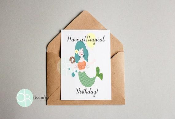 Mermaid Greeting Card Digital Retro A7