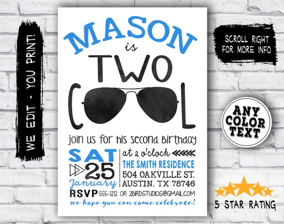 Im two lets party shirt birthday invitation two cool birthday il570xn filmwisefo