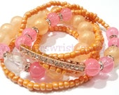 Orange Bracelets, Pink, Rose Gold, Bracelets, Beaded Bracelets, Stretchy, Bracelet Stack, OOAK, Custom Handmade Beaded Jewelry