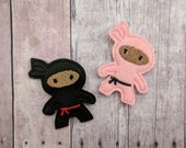 Ninja Accessory, Embroidered Black or Pink Vinyl or Felt with Choice of Headband, Pin, Magnet, Hair Clip, Ponytail, Shoe Clip, Made in USA