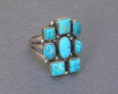 PERRY Vintage Native American Indian RING Natural Turquoise Cluster Rings Sterling NAVAJO Jewelry Sz 10 Modernist Design Gift for Her or Him