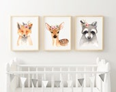 Poster set child's room forest animals A4 fox fawn