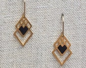 Small Square Heart Geometric Laser Cut Earrings