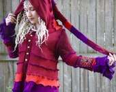 Ready to Ship- Upcycled Sweater Coat with a Medieval Liripipe Hood and Bell Sleeves by SnugglePants