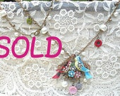 SOLD..summer floral lovebird necklacce assemblage romantic birds upcycle jewelry pin flower cottage eco chic