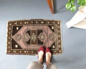 vintage Turkish rug, rustic geometric  tiny rug, earthy colors wool rug, meditation rug, door mat, bath mat