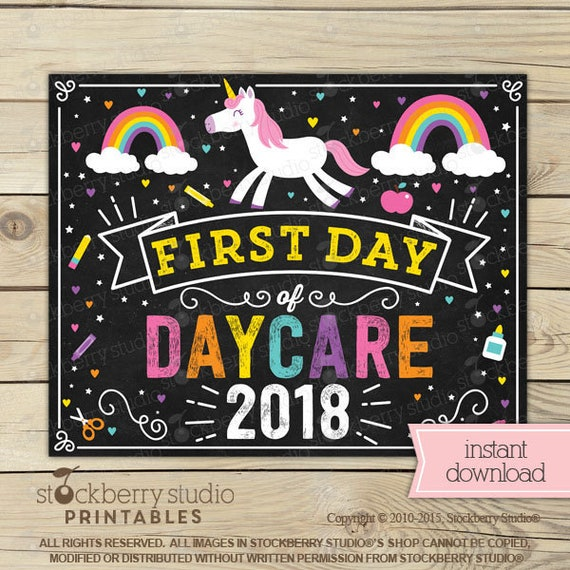 unicorn first day of daycare sign girl first day of daycare sign