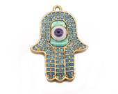 Multi Stone Hamsa Connector, Gold Earring Connector, Bracelets Charms, Evil Eye Pendant, Jewelry Making Supply, GemMartUSA (MCCH-50001)