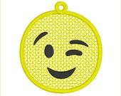 Emoji winking face embroidery design FSL in the hoop bag tag, key fob, charm, gift tag