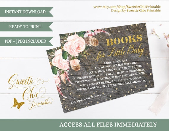 Books for baby insert card floral baby shower invitation insert il570xn filmwisefo