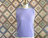 vintage 1960s sheer sleeveless sweater, lavender pointelle chevron knit