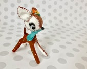 Brown Polka Dots / Darling Deer Blythe Pet Felt Plush Animal