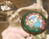Antique BUTTON necklace. Edwardian enamel with flowers. One of a kind jewellery.