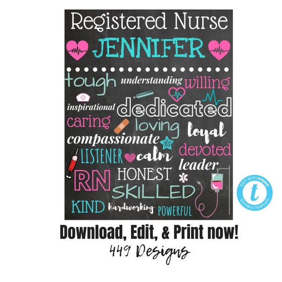 EDITABLE instant access personalized name Nurse Subway Wall Art ...