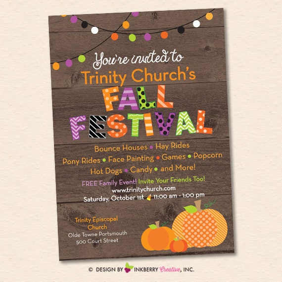 fall festival harvest festival fall party invitation custom