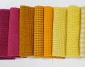 Rose fushia - Orange - jaune - teintée à la main feutrée tissu de laine dans une belle Collection de couleurs un parfait Rug Hooking laine 3201B