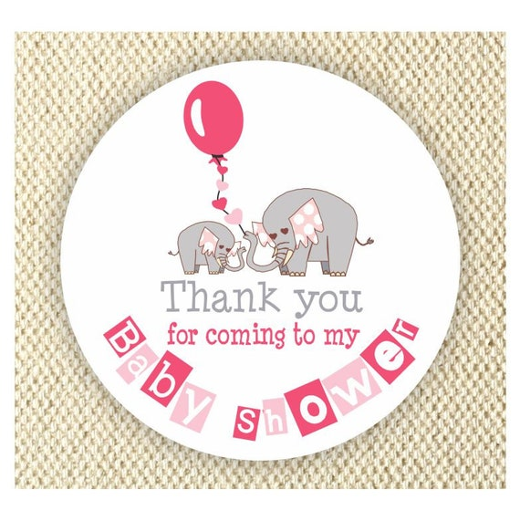 Elephant Baby Shower Thank You Stickers Girls Baby Shower Labels