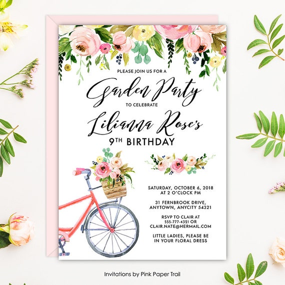 Floral garden bridal shower invite rustic bicycle and pink floral il570xn filmwisefo