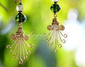 Green statement Drop earrings,Dangle&drop Green earrings,African beaded Green earrings