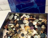 Old Buttons - Lots of Buttons - Scrapbooking Buttons - Coconut - mixed lot - mixed buttons - Estate Sale find - black bottoms - Bohemian