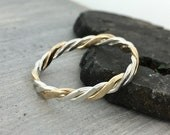 Twist Ring, Stackable Ring, Stacker Ring, Double Twist Ring, Gold Filled, Knuckle Ring, Midi Ring, Silver Ring, Promise Ring, Two Toned Ring