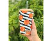 Listing for Megan, Pumpkins Black Stripes Iced Coffee Cozy