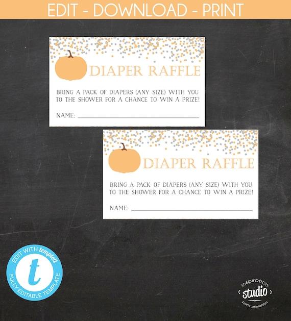 little pumpkin on the way baby shower diaper raffle tickets fall