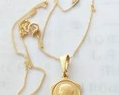 Necklace - Our Lady of Lourdes 15.5x21 - 18K Gold Vermeil + 18 Inch Italian 18K Gold Vermeil Chain