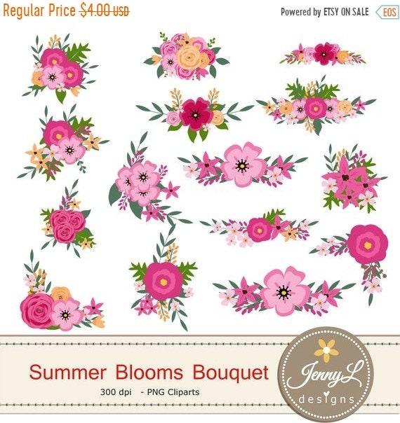 40% OFF Summer Flower Bouquet Clipart, Pink Wedding Flowers, Shabby ...