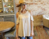 Summer Clearance! Oatmeal Colored Cold Shoulder Tunic for Women