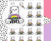Positive VibesPlanner Stickers - Peace Planner Stickers - Rainbow Planner Stickers - Hand Drawn Stickers - Cat Planner Stickers - 2161