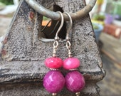 Purple and Pink Sterling Silver Earrings, Womens Artisan Jewelry, Short Gemstone Dangles, Pop of color, Bright Accessories