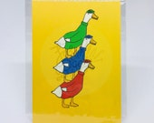 Another Quality Duckstack - Duck DuckTakes Stack Nephews Huey Dewey Louie It's A Duck Blur A6 Postcard Art Print