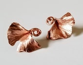 Copper Ginkgo Leaf Earring studs - renfest, fairy jewelry, dryad, leafy lady,