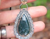 RESERVED Moss Agate Pendant Artisan Jewelry Sterling Silver Crystals and Stones