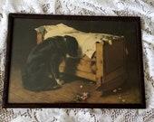 Antique Print, The Lost Playmate, Dog, Mosler, Deceased, Child, Roses, Cradle, Crib, Vintage, All Original, Intact