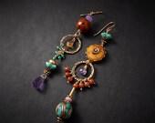Turquoise Asymmetrical Earrings Aqua Purple Chandelier Earrings Cheetah Leopard Earrings Animal Print Earrings Festival Earrings Statement
