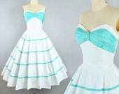 Vintage 1950s Dress / 50s Cotton Sundress MINT Blue Ribbon Bow SWEETHEART Bust Full Circle Skirt Piped Trim Garden Picnic Party Pinup XS