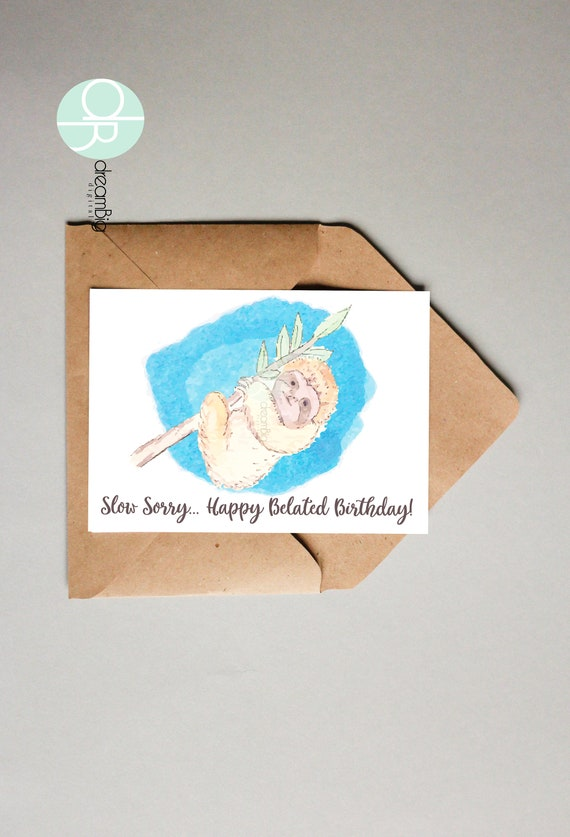 Watercolor sloth belated greeting cards sloth printable animals zoo il570xn m4hsunfo