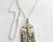 Necklace - Three Marys at Cross / Eucharistic Adoration 28x56mm - Sterling Silver