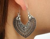 Vintage Creolen Ethno Boho Hippie Gipsy Design Ohrringe Ohrhänger Silber plattiert neu